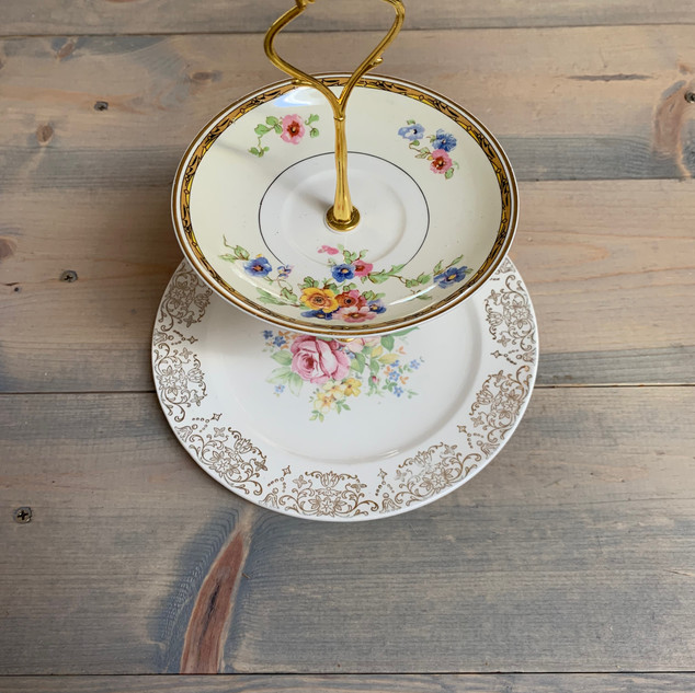 Floral Tiered Tray - $7