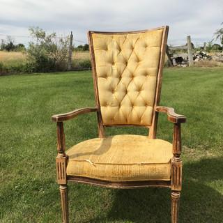 Yellow High Back Chair - $15