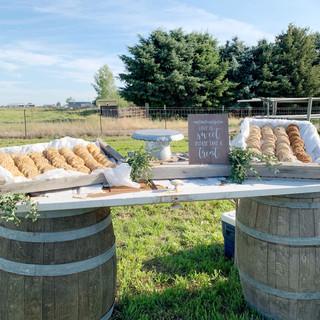 Wine Barrel Table with Old Door - $75