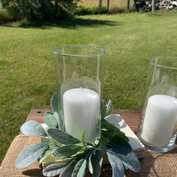 Cylinder Vases and Lambs Ear Wreaths