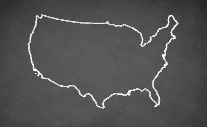 United States map drawn on chalkboard. C