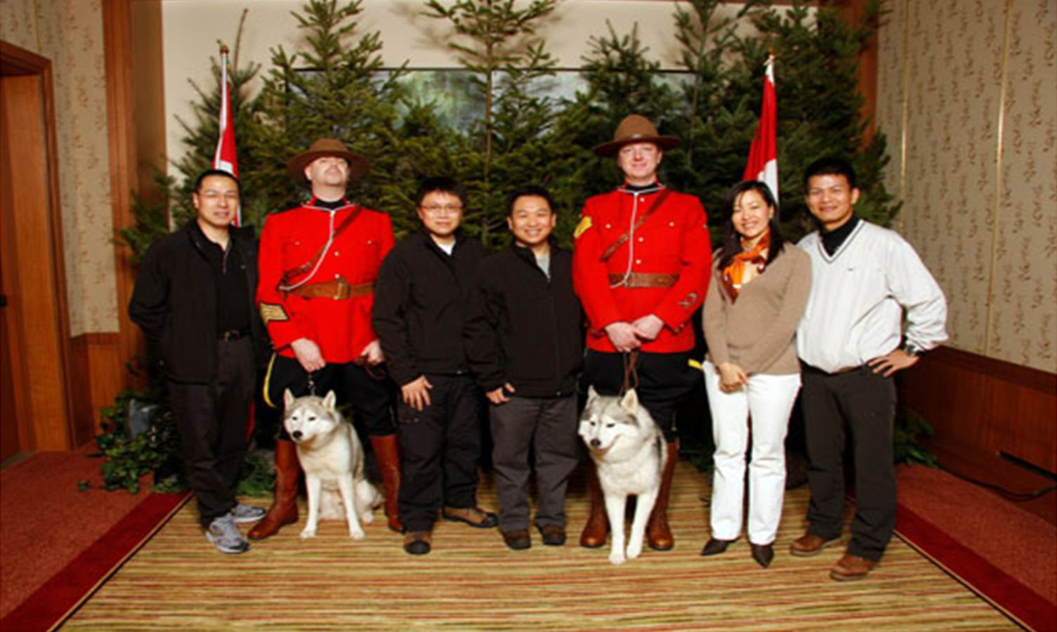 Mounties and Huskies In Canada
