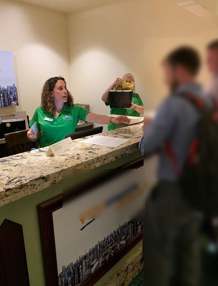 travel staff with blur