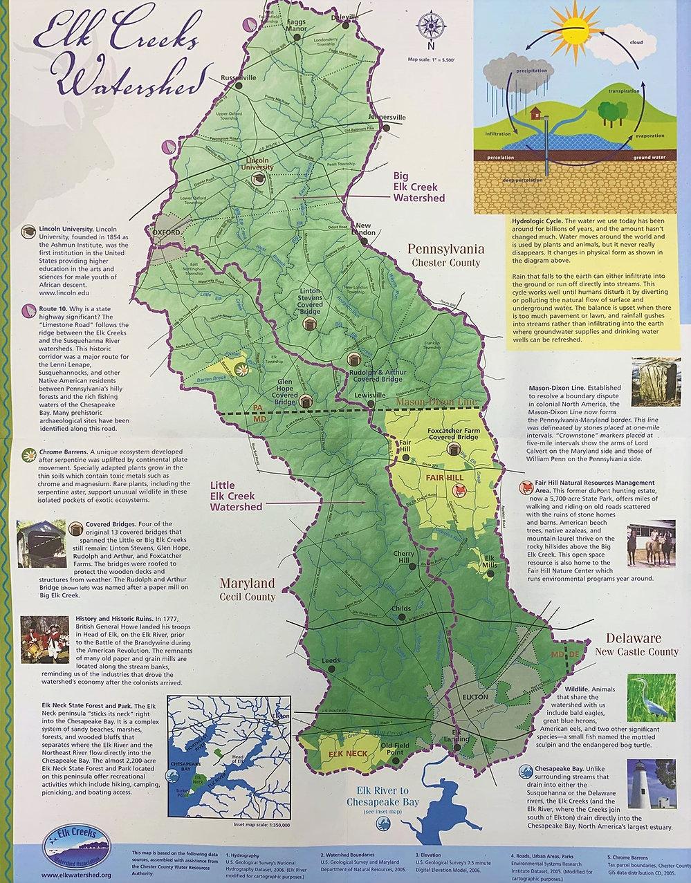 Map Elk Creeks Watersheds PA Chesapeake Bay MD
