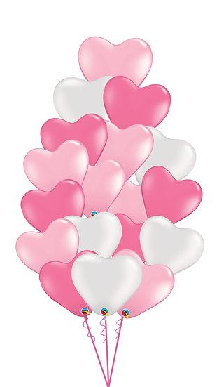 Фонтан из гелиевых сердец розовых оттенков и белого цвета