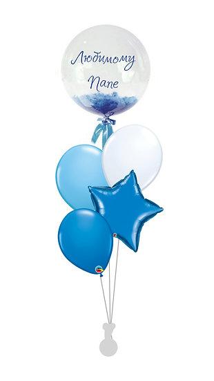 Сет воздушных шаров с баблсом с перьями и надписью