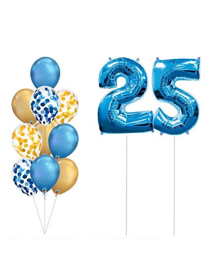 Фонтан из воздушных шаров хром и конфетти с фольгированными цифрами в Сочи