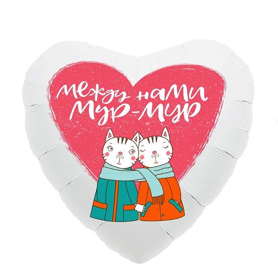 "Сердце ""Мур-мур"" с гелием и лентой"