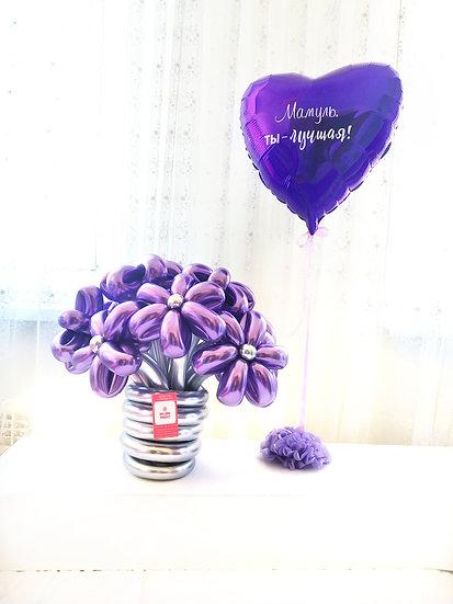 Подарок из шаров на день матери, букет и сердце с надписью в Сочи