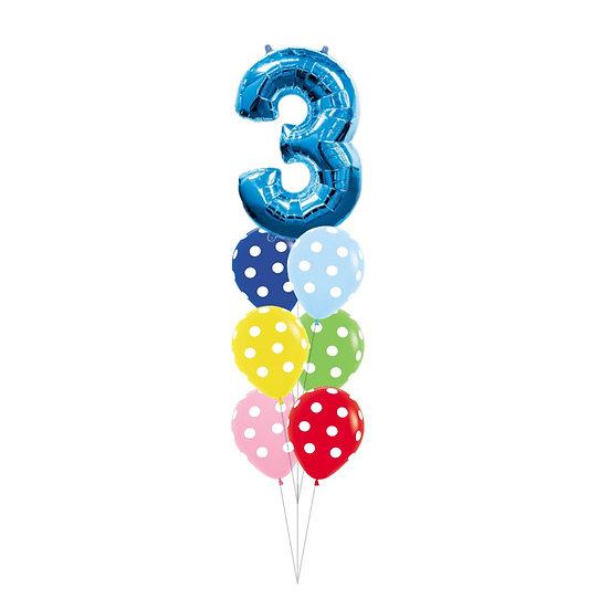 Фонтан из шаров ассорти серии Полька с фольгированной цифрой в Сочи
