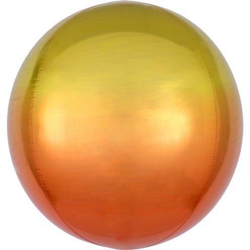 Cфера 41 см градиент оранжевый с гелием и лентой