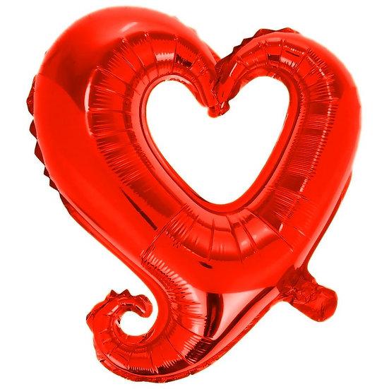 Шар (40''/102 см) Фигура, Цепь сердец, Красный