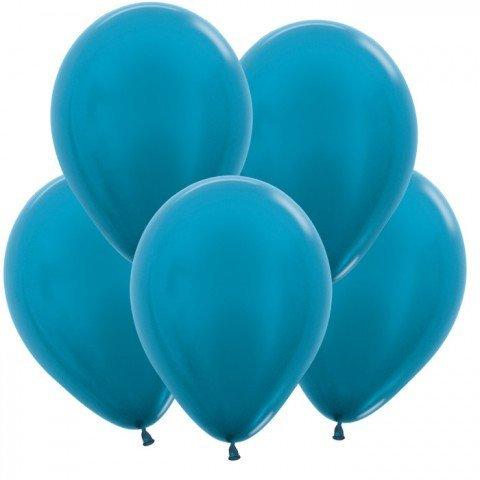 Шар (цвета металлик) синий 30 см с гелием, обработкой и лентой