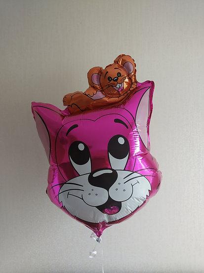 Кот розовый с мышкой