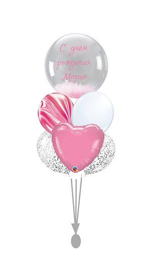 Сет воздушных шаров для девушки с индивидуальной надписью