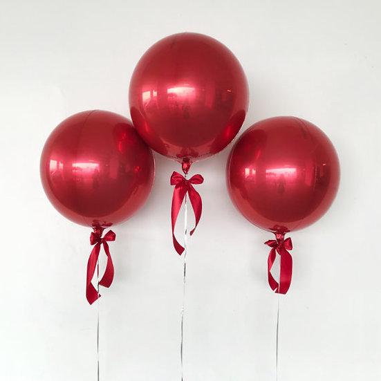Три сферы 41 см красные с гелием и лентой