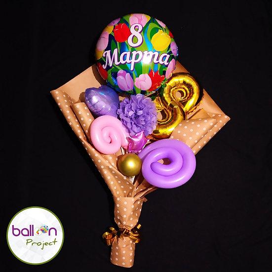 Крафт-букет на 8 марта для мамы из воздушных шаров
