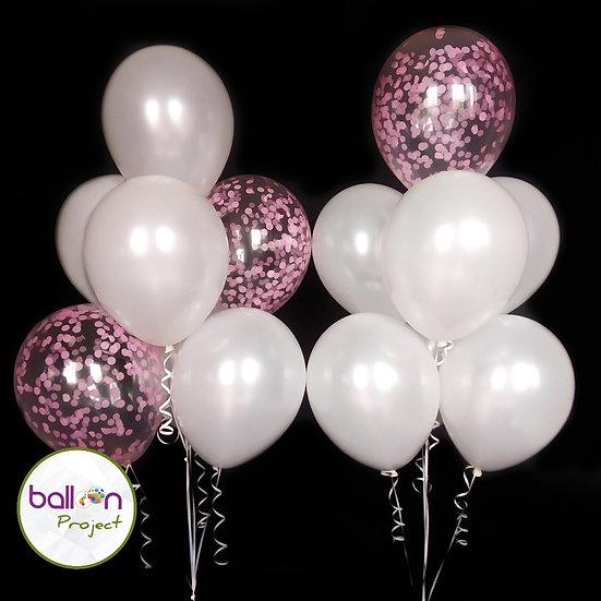 Нежные фонтаны гелиевых шаров белый перламутр и розовое конфетти