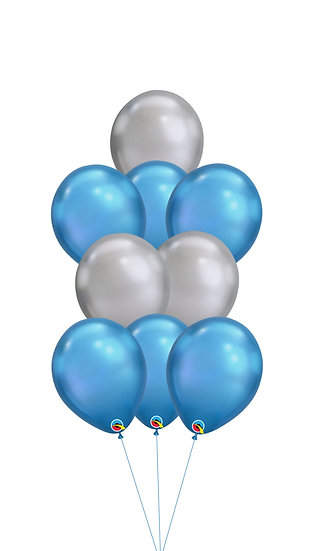 Фонтан из шаров хром серебро и синий в Сочи