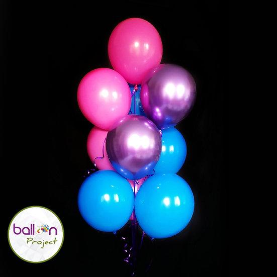 Фонтан гелиевых шаров в Сочи розового, голубого цветов