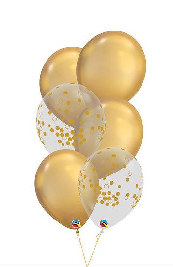 Сет Золотишко с воздушными шарами хром и золотым конфетти в Сочи