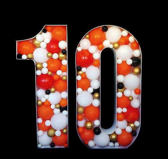 Цифры из воздушных шаров Аэромозаика в Сочи