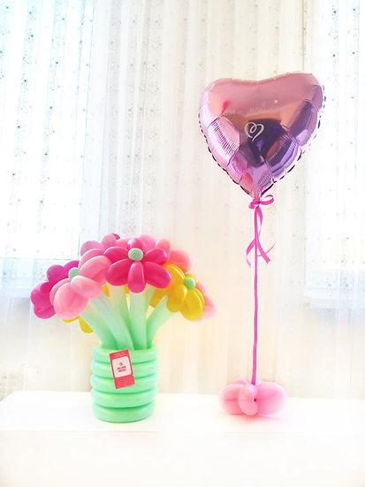Цветы из шаров и шар-сердце с надписью