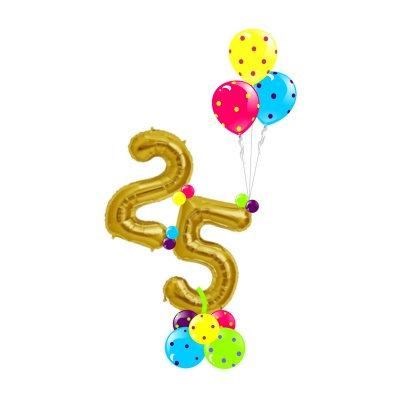 Композиция из воздушных шаров с фольгированными цифрами и шарами в горошек в Сочи