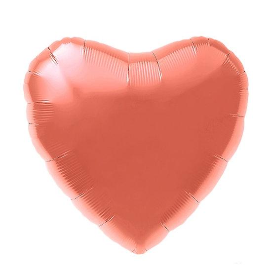 Сердце глянцевое 49 см с гелием и лентой