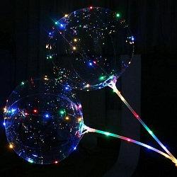 Шар (15''/38 см) Сфера 3D светящаяся на палочке