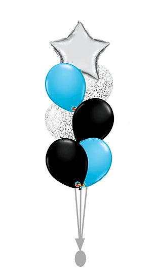 Фонтан гелиевых шаров черного, карибского голубого и серебряного цветов со звездой