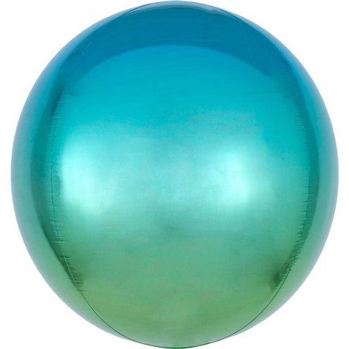 Cфера 41 см градиент аквамарин с гелием и лентой