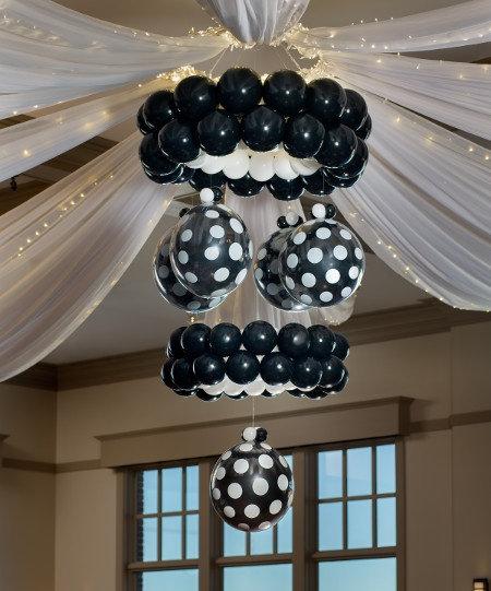 Люстра из воздушных шаров для оформления праздника в Сочи