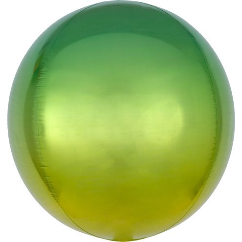 Cфера 41 см градиент зелёный с гелием и лентой