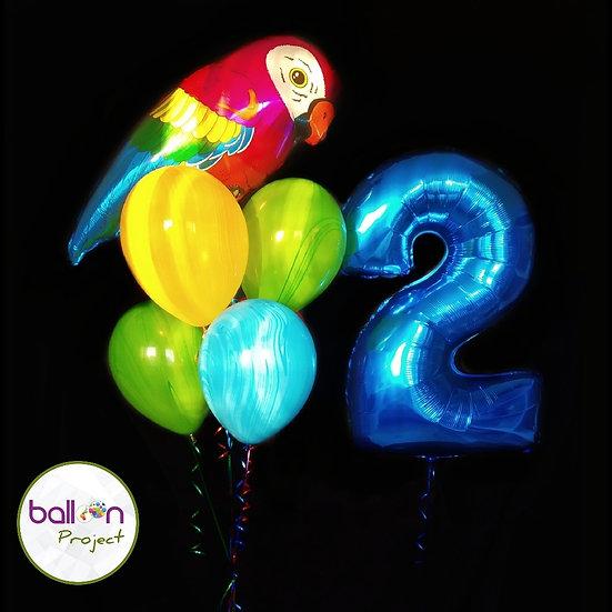 Фонтан гелиевых шаров попугай, синяя цифра и агаты