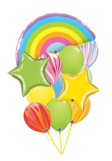 Фонтан гелиевых шаров с миларовой радугой