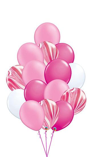 Фонтан из гелиевых шаров Розовое облако в Сочи с агатами