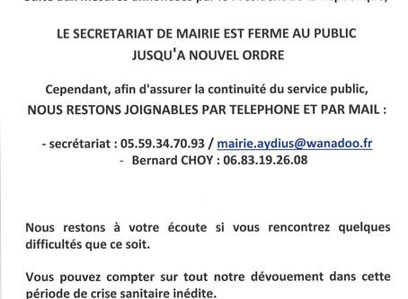 Information importante concernant la continuité des services publics de la Commune.