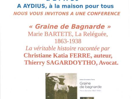 """Conférence """"Graine de Bagnarde"""" proposée par la Bibliothèque d'Aydius le samedi 8 sept"""