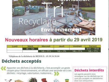 Déchèterie de Bedous : de nouveaux horaires à partir du 29 avril