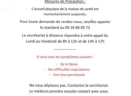 COVID-19 : la Maison de Santé de la vallée d'Aspe vous informe des mesures de précaution mises e