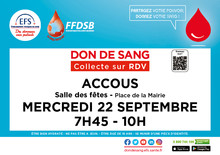 Collecte sur rendez-vous à Accous, le 22 septembre 2021 de7h45 à 10h