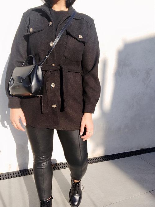 Brushed Overshirt Shacket - Black