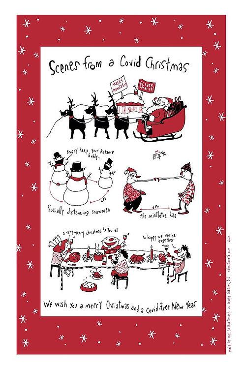 Covid Christmas Tea Towel
