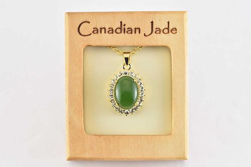 Jade Oval Pendant w/ Crystals  (L)