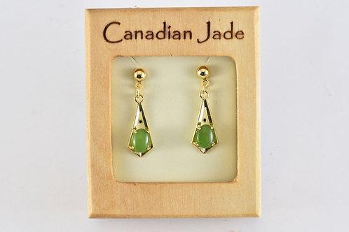 Jade Oval Dangling Triangle Earrings