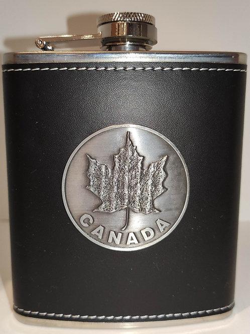 Flask w/ Maple Leaf & Leather