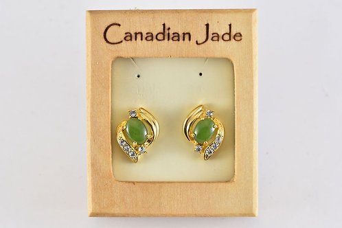 Jade Oval in Swirl Earrings