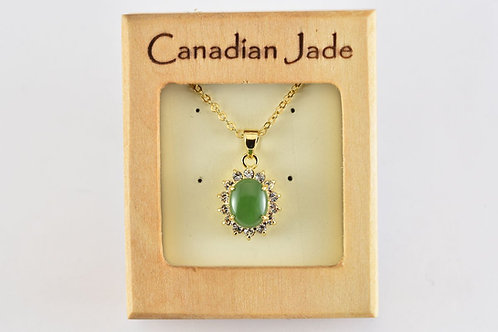 Jade Oval Pendant w/ Crystals (S)