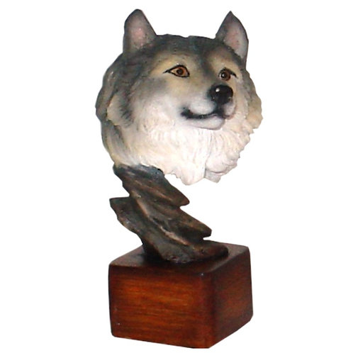 Wolf Bust on Wood Pedestal